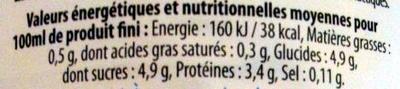 Lait Ribot Maigre pasteurisé - Informations nutritionnelles