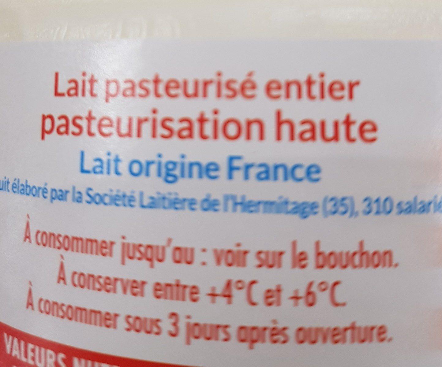 Lait de Bretagne Lait pasteurisé entier - Ingrediënten - fr