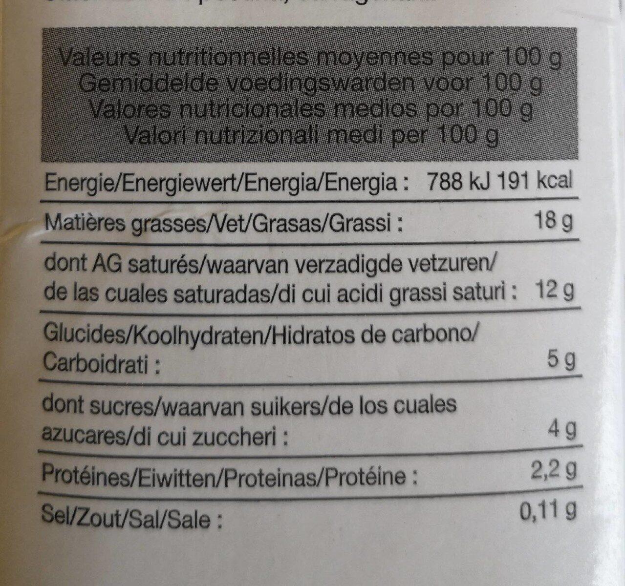 Crème Uht Liaisons Et Cuissons - Informations nutritionnelles - fr