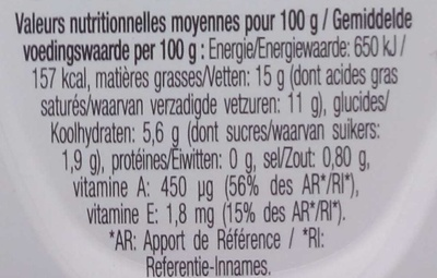 Bridelight Doux 15% de matiere grasse - Nutrition facts - fr