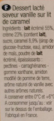 Panna Cotta Nappé de caramel - Ingrédients - fr