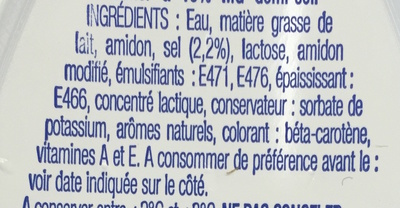 Beurre demi-sel 15% mg - Ingrédients