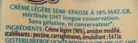 Crème Légère Semi Epaisse (18 % MG) - Ingrediënten