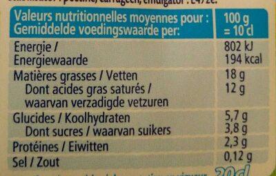 Crème Légère Semi Epaisse (18 % MG) - Voedingswaarden