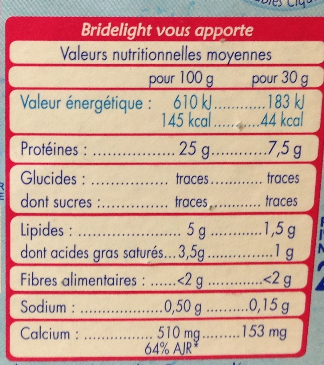 BRIDELIGHT - Informations nutritionnelles