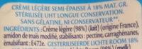 Crème Légère Semi Épaisse - Ingrediënten