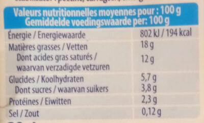 Crème Légère Semi Épaisse - Voedingswaarden