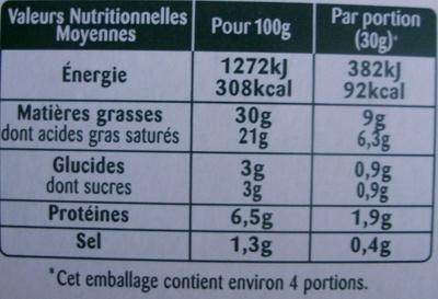 Rondelé Le Corsé (30 % MG) - Informations nutritionnelles - fr