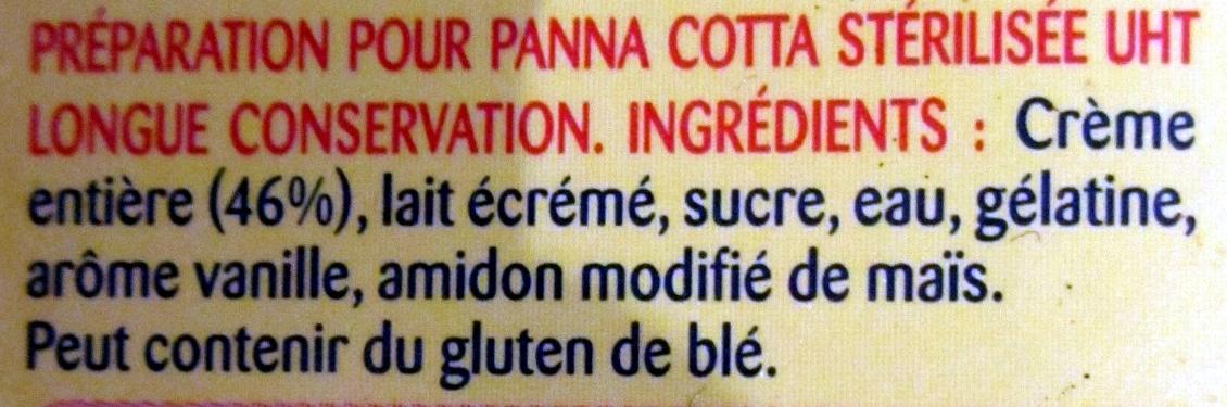 Préparation pour Panna Cotta - Ingrédients - fr