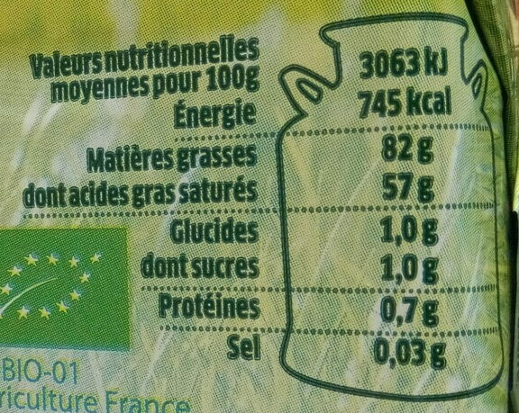 Le Beurre Bio Doux (82 % MG) - Nutrition facts - fr