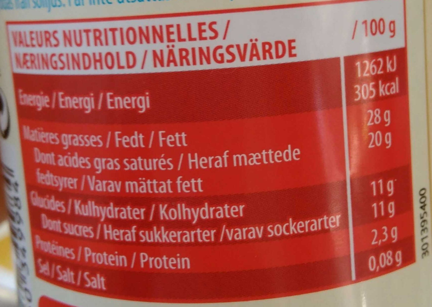 Crème chantilly ferme et onctueuse - Nutrition facts