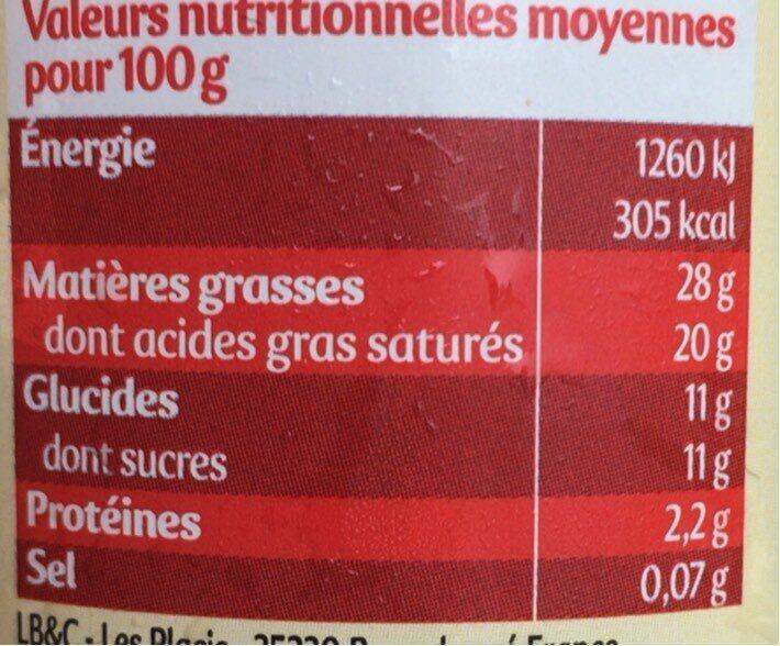 Crème chantilly ferme et onctueuse - Informations nutritionnelles - fr