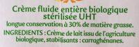 La Crèmerie Bio - Crème Entière - Ingredients - fr