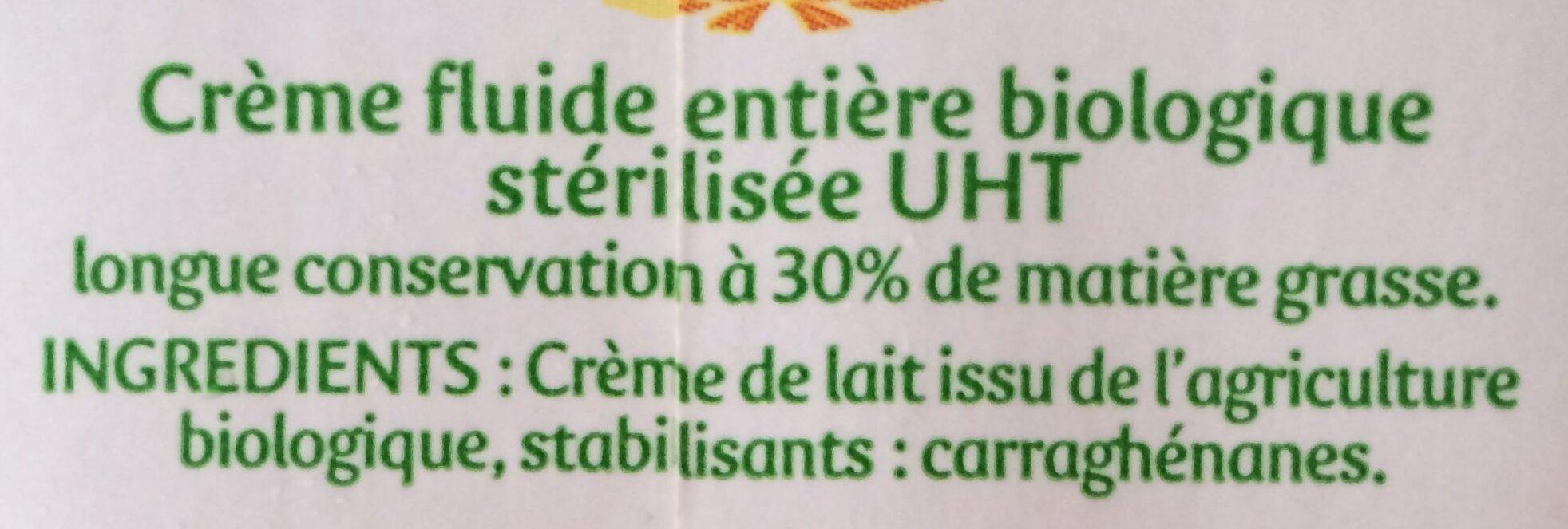 La Crèmerie Bio - Crème Entière - Ingrédients - fr