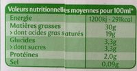 La Crèmerie Bio - Crème Entière - Informations nutritionnelles - fr
