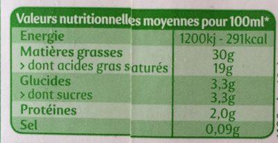 La Crèmerie Bio - Crème Entière - Nutrition facts - fr