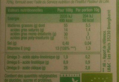 Primevère Bio Tartine & Cuisson - Nutrition facts