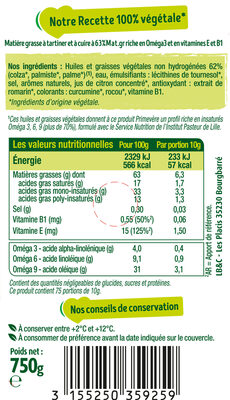 Primevère Tartine & Cuisson - Informations nutritionnelles