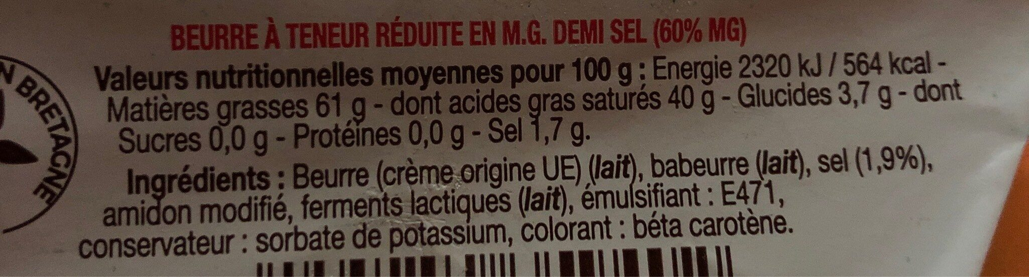 Beurre demi-sel - Valori nutrizionali - fr