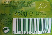 Beurre Moulé Doux Bio (82 % MG) - Ingredients