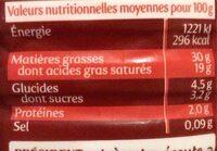 Crème entière semi-épaisse - Voedingswaarden - fr
