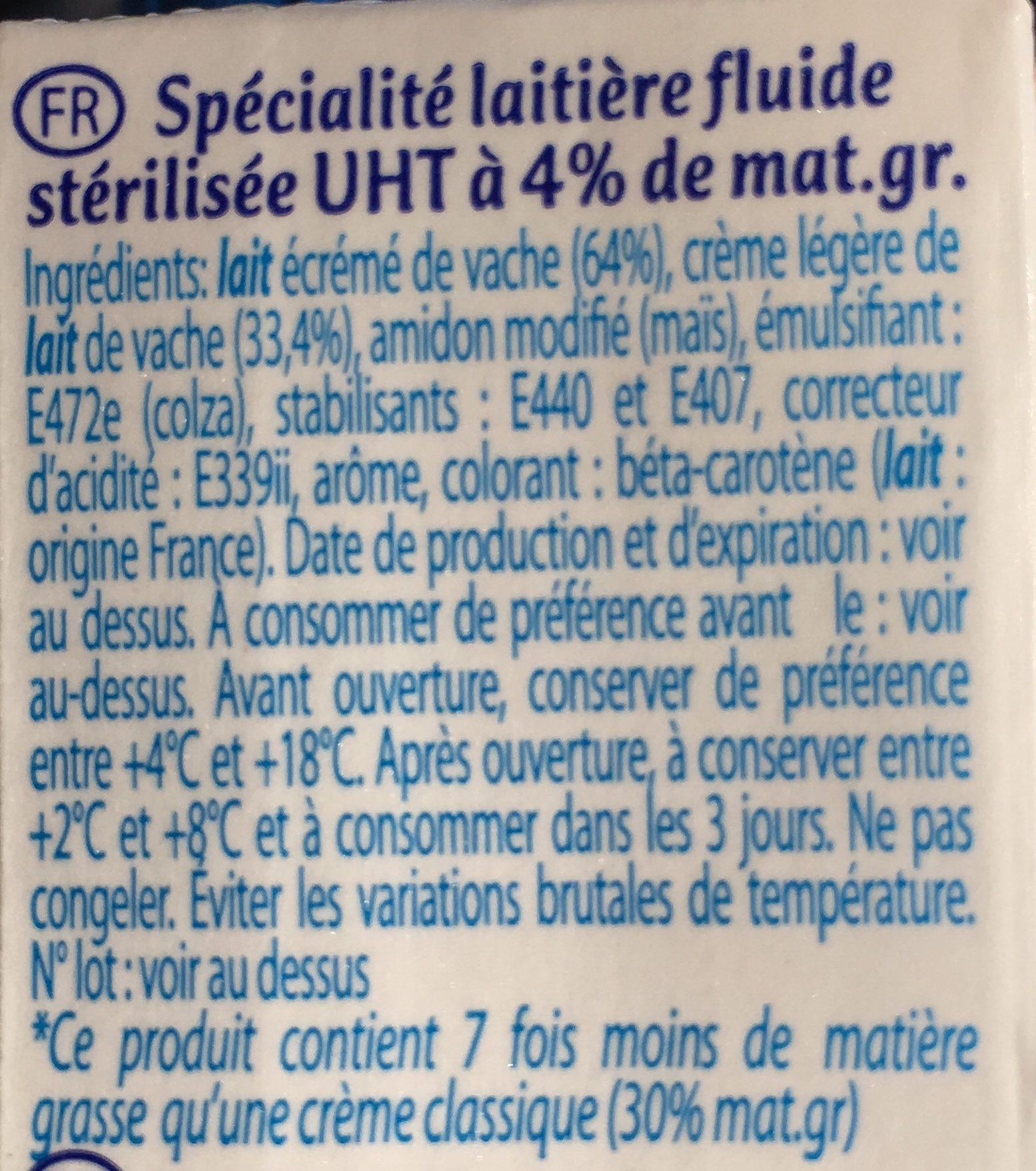 Spécialité laitière fluide stérilisée UHT à 4% de mat.gr. - Ingrédients - fr