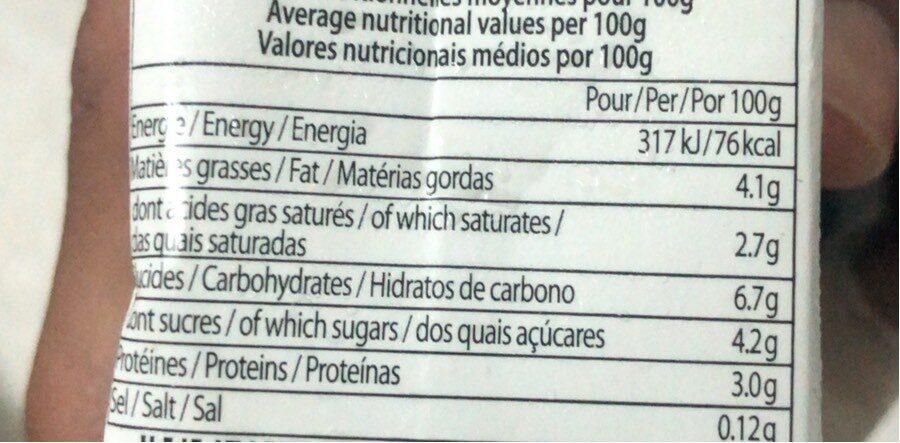Spécialité laitière fluide stérilisée UHT à 4% de mat.gr. - Informations nutritionnelles - fr
