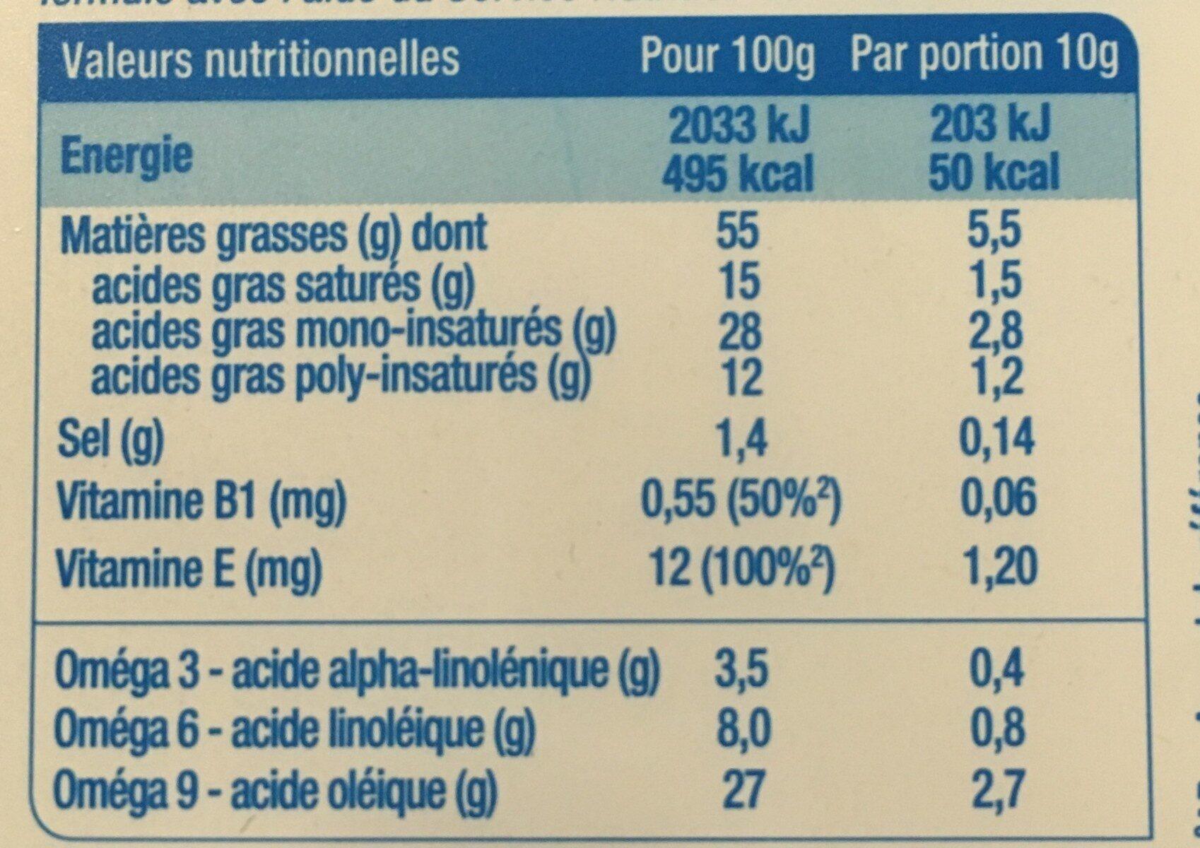 Tartine demi-sel 100% végétal - Informations nutritionnelles - fr