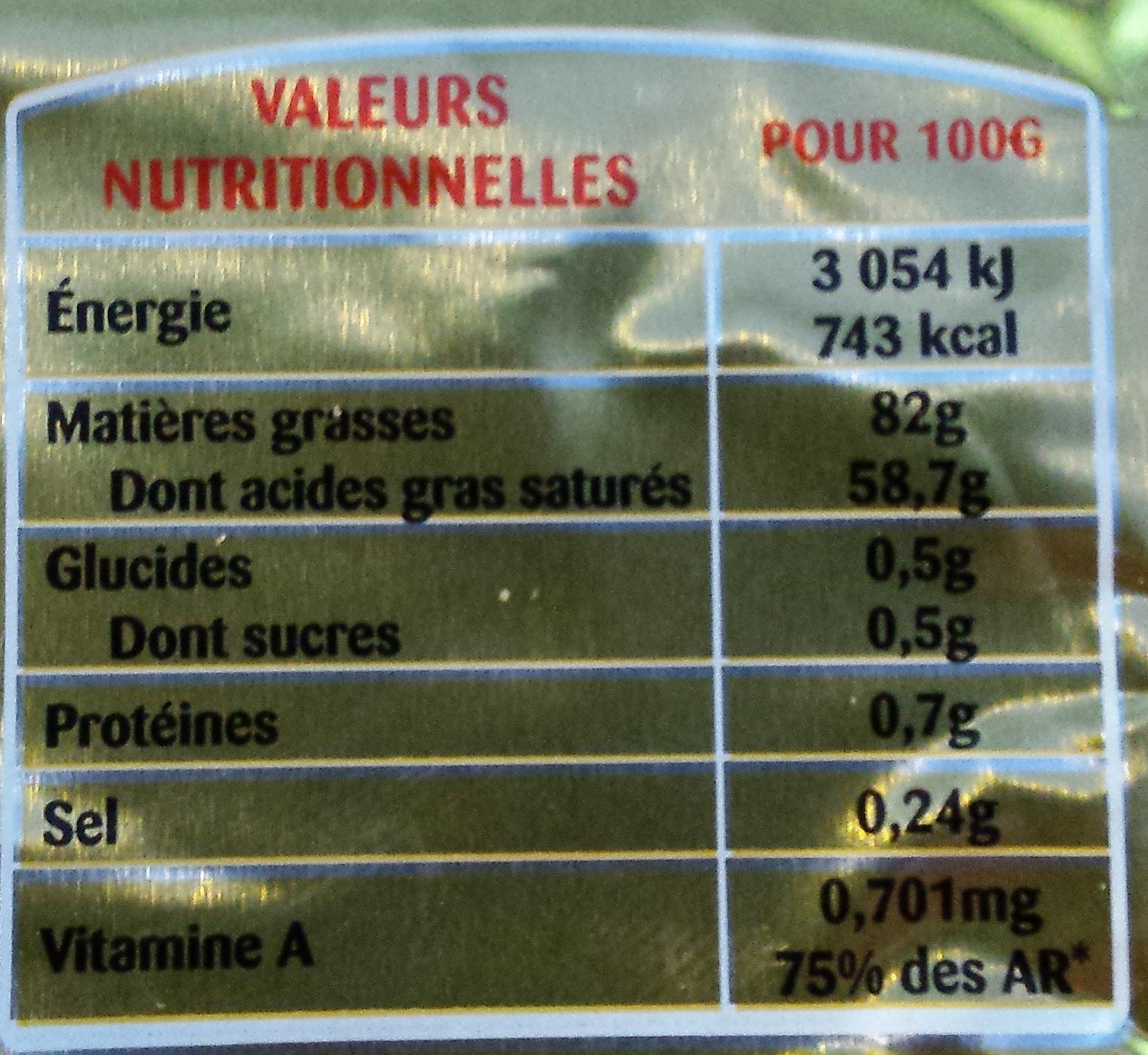 Beurre Doux (82% MG) Gastronomique - Valori nutrizionali - fr