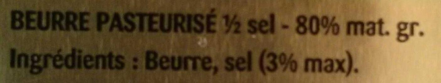 Beurre gastronomique président - Ingrédients - fr