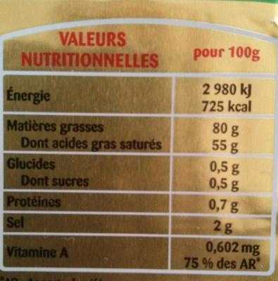 Beurre gastronomique président - Informations nutritionnelles - fr