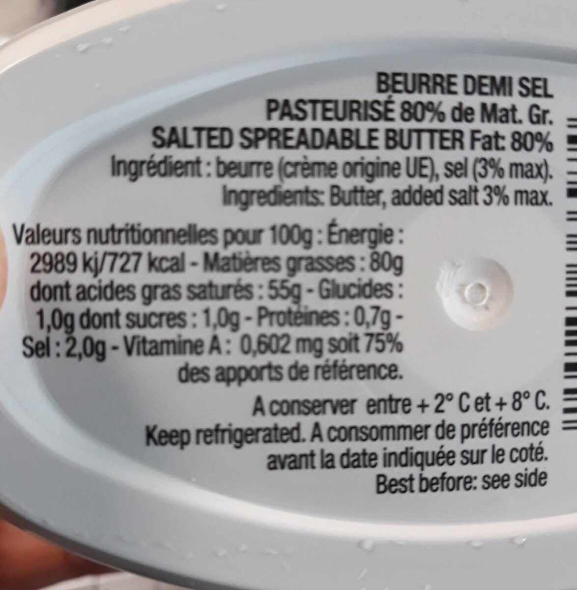 Beurre Tendre Demi Sel - Nutrition facts - fr