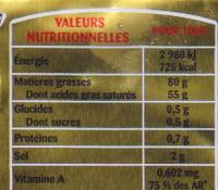 Beurre gastronomique demi sel - Informations nutritionnelles - fr