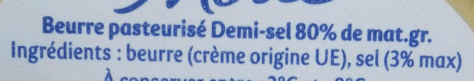 Beurre pasteurisé demi-sel 80% de mat.gr. - Ingredienti - fr
