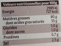 La Motte aux cristaux de sel - Informations nutritionnelles
