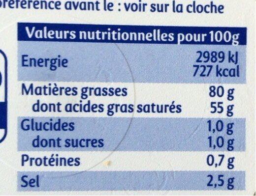 Beurre pasteurisé demi-sel 80% de mat.gr. - Valori nutrizionali - fr