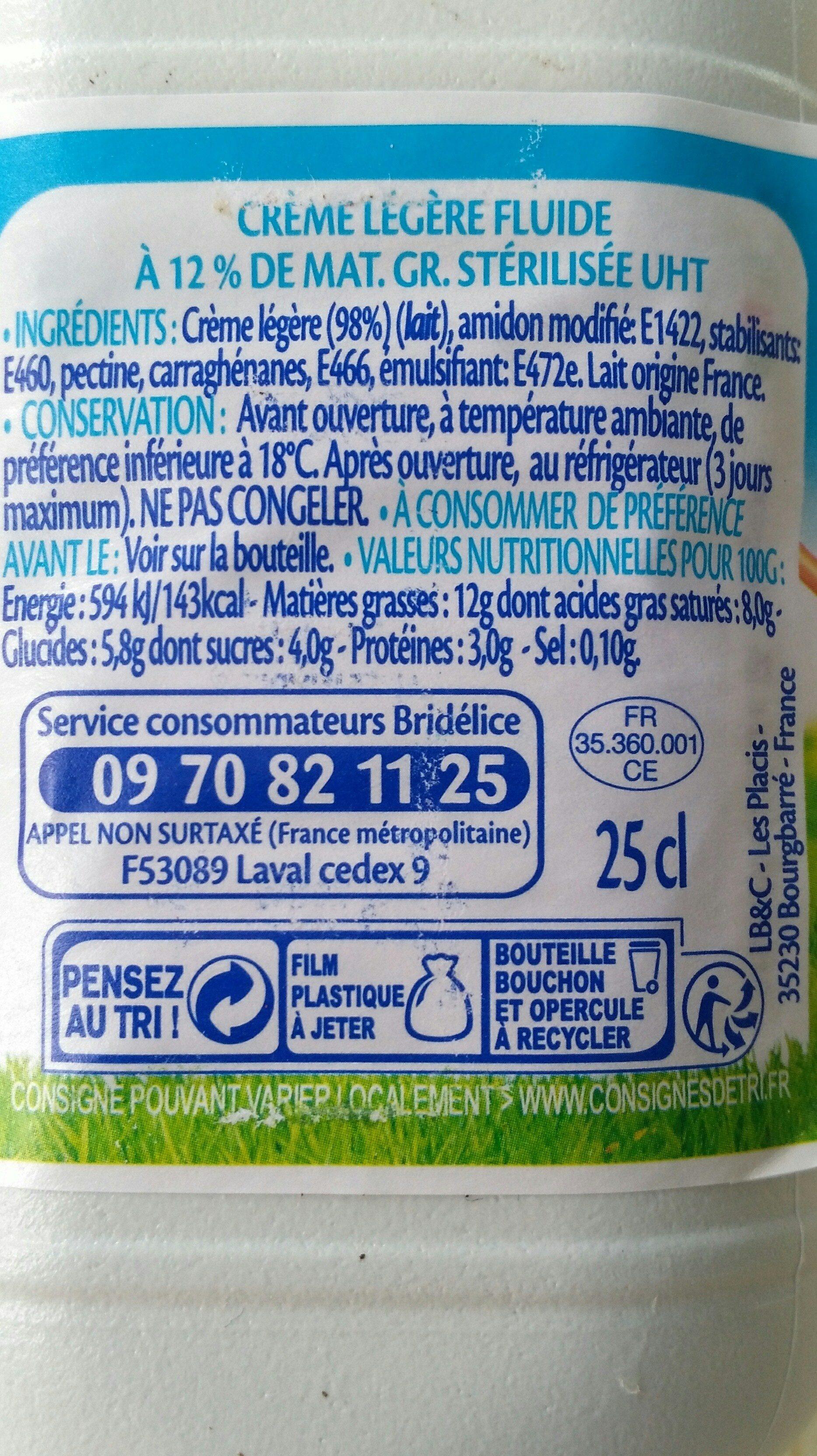 Crème légère fluide - Voedigswaarden