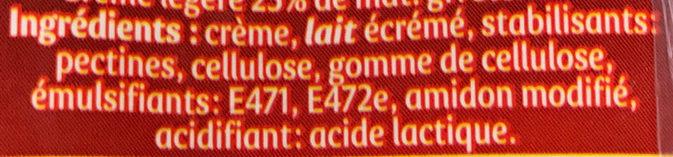 Secret de Crème semi-épaisse - Ingrédients - fr