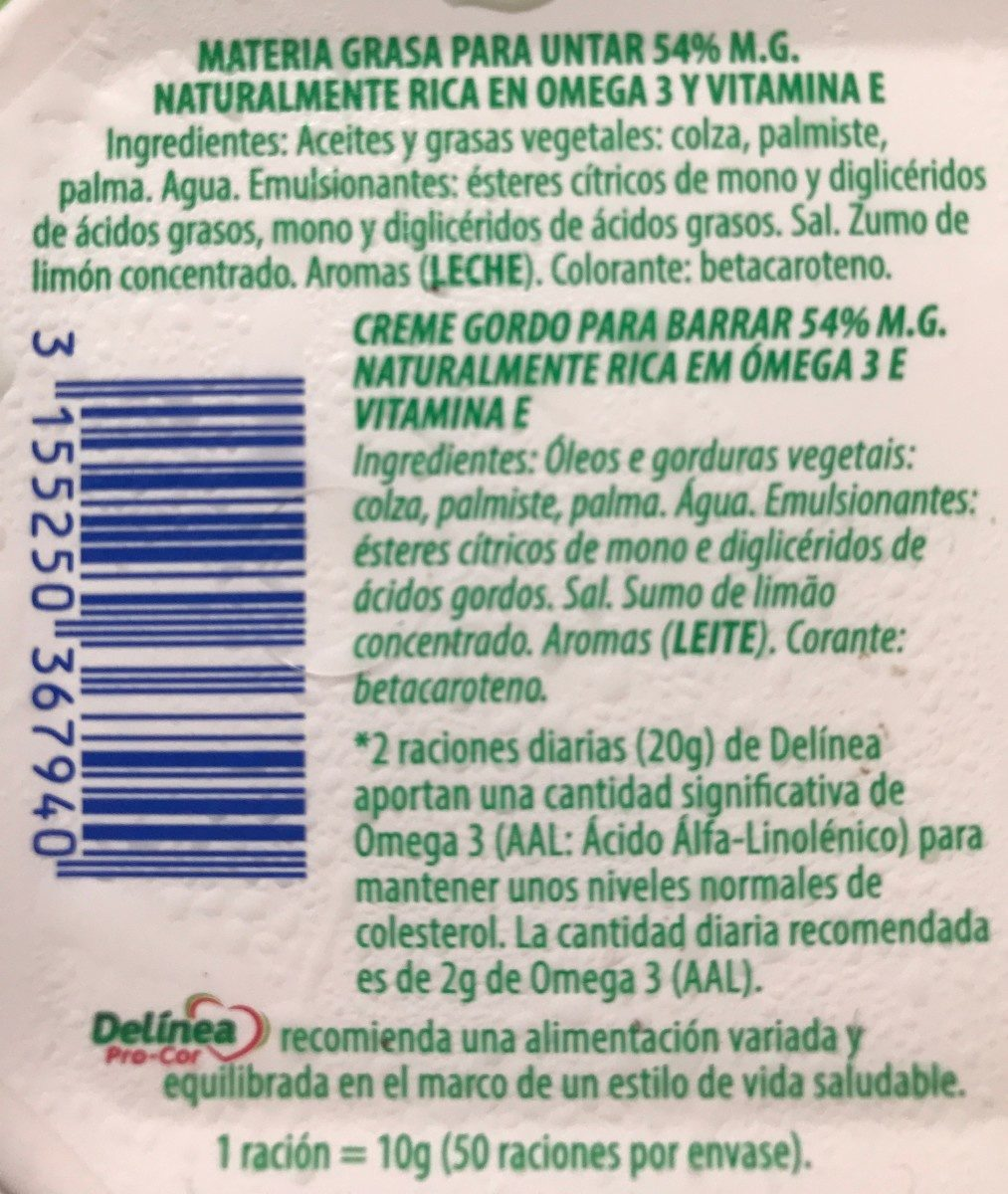 Margarina Delinea Omg3 - Ingredientes - fr