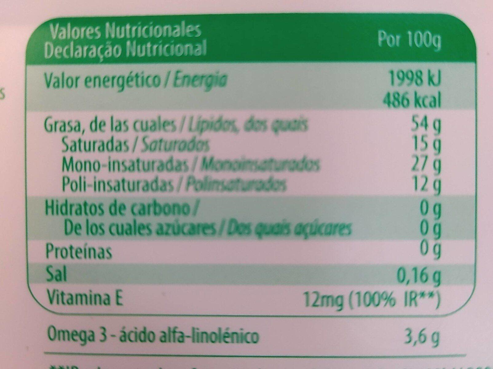 Margarina Delinea Omg3 - Información nutricional - fr