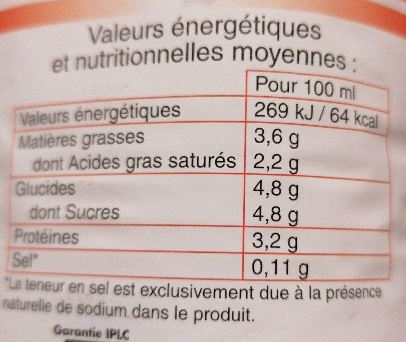 Lait de Bretagne - Informations nutritionnelles - fr