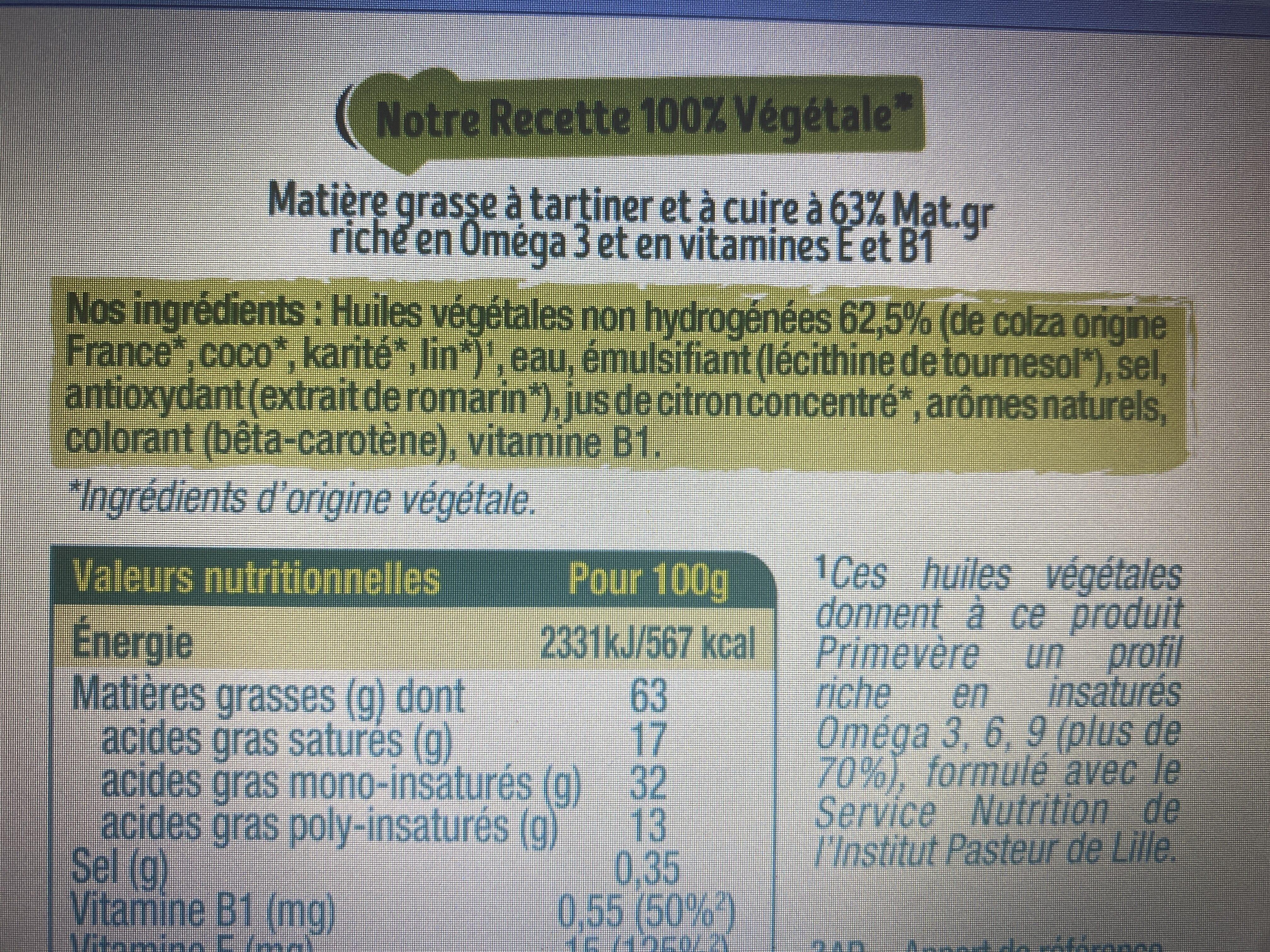 Primevère Tartine doux végétal - Ingredientes - fr