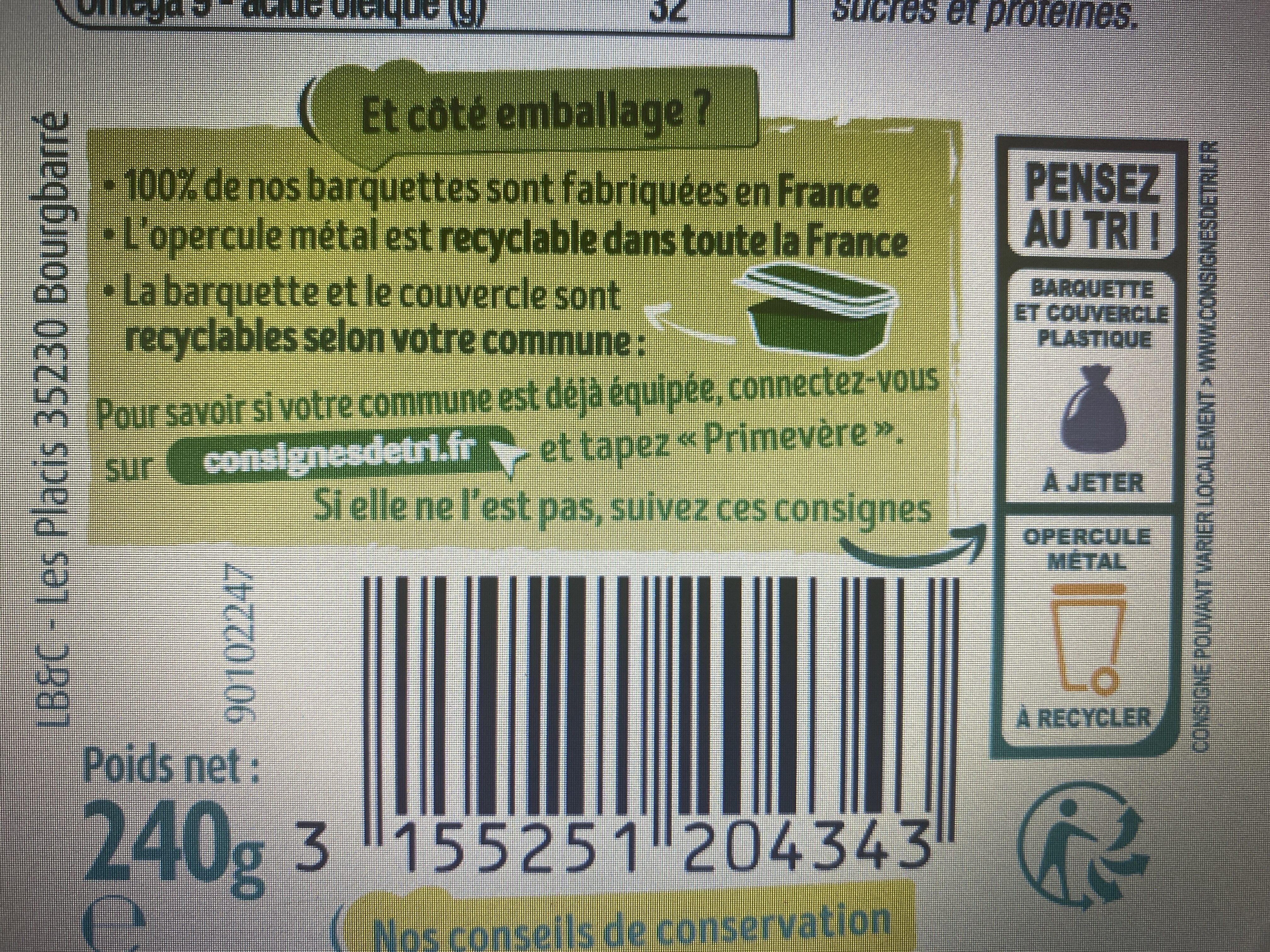 Primevère Tartine doux végétal - Instrucciones de reciclaje y/o información de embalaje - fr