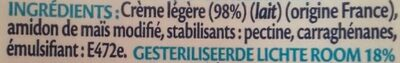 Crème légère semi-épaisse 18% Mat. Gr. - Ingredienti - fr