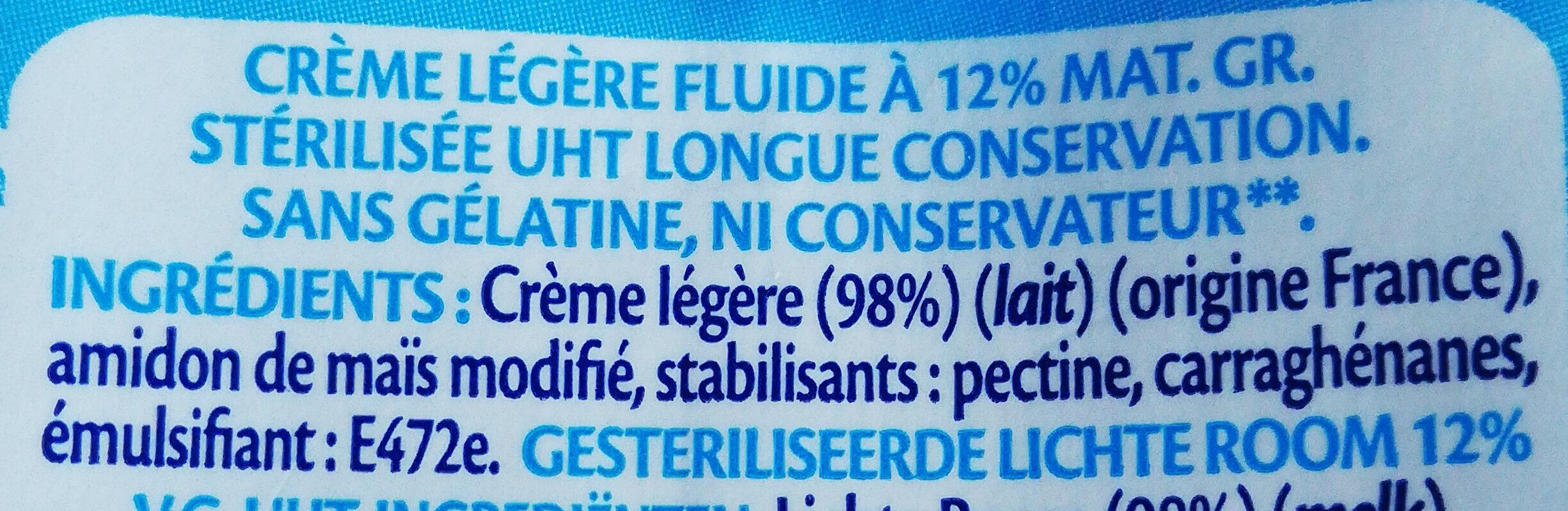 Crème légère fluide UHT 12% de Mat. Gr - Ingrediënten - fr