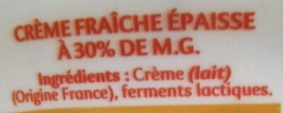 Crème fraiche gastronomique - Ingredients