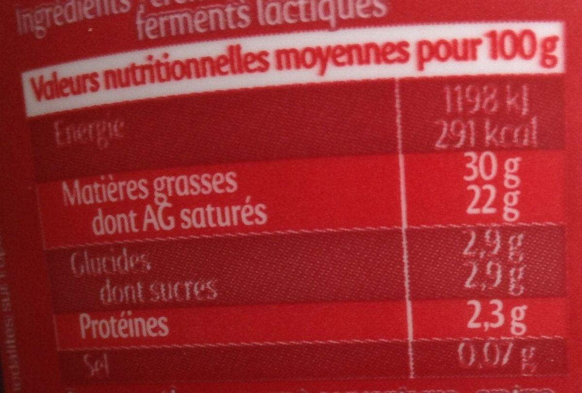 Crème fraiche gastronomique - Nutrition facts