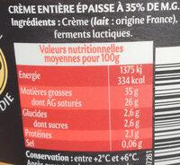 Extra épaisse gourmande et nappante - Informations nutritionnelles - fr