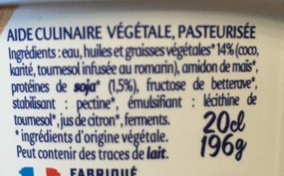 Aide culinaire végétale - Ingrédients