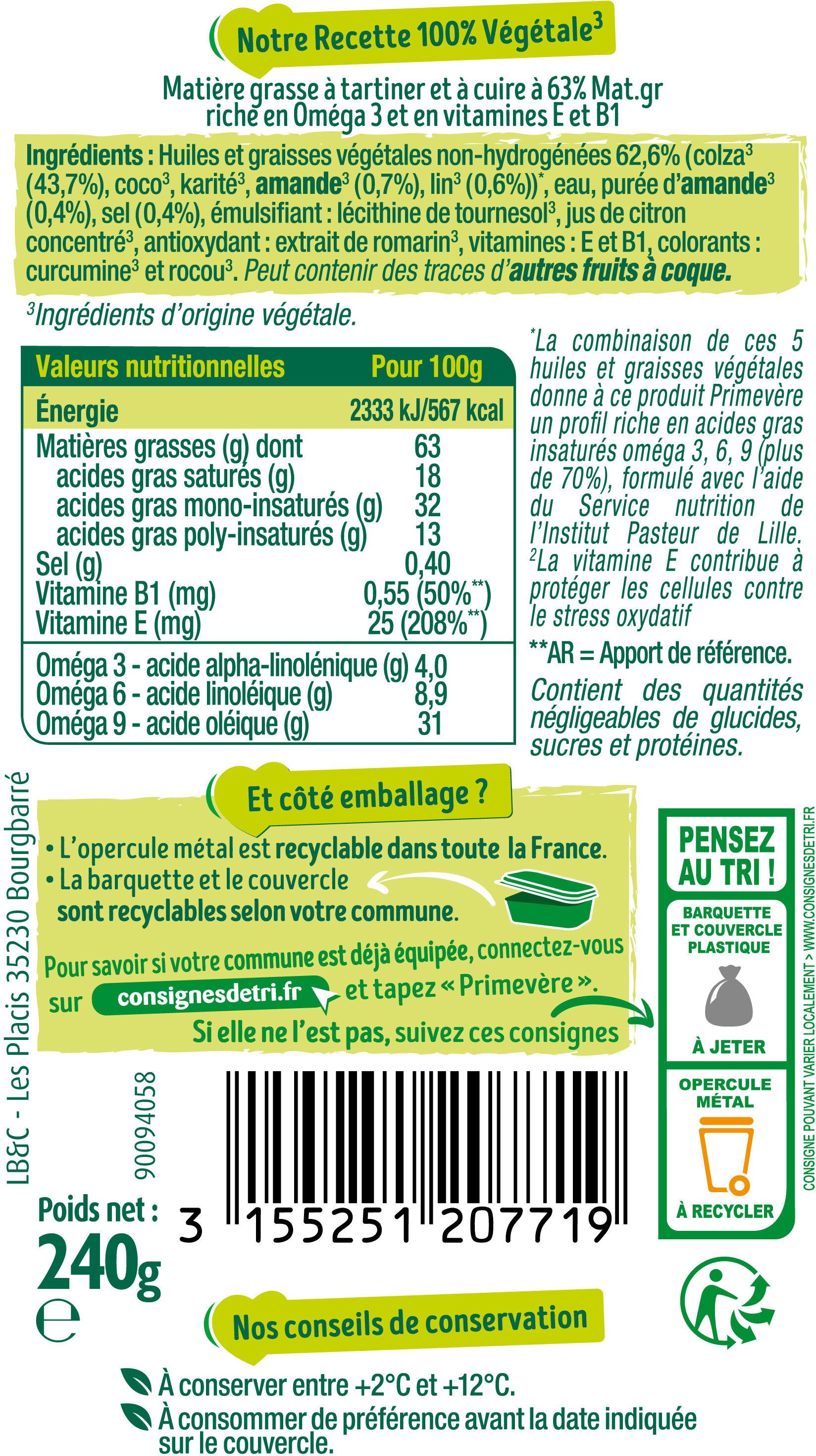 Beurre Actif végétal - Nährwertangaben - fr